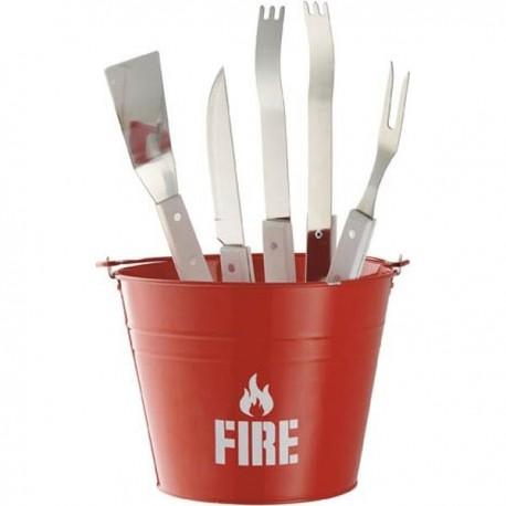 Grilovacie náradie v červenom vedierku FIRE