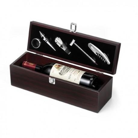 Drevený box s pomôckami na servírovanie vína