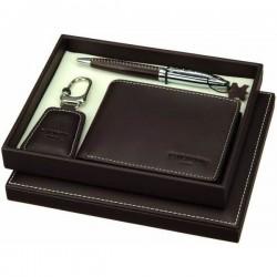 Luxusný značkový  set pre mužov - pero, peňaženka, prívesok