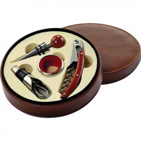 Okrúhla darčeková kazeta na víno s hnedým obalom
